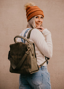 Brette Convertible Backpack in Suede and Faux Leather