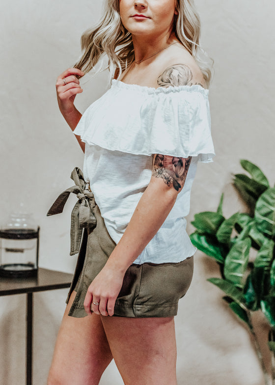 Samantha Off Shoulder Ruffle White Top