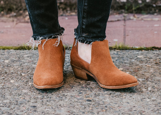 Finley Short Suede Booties in Whiskey