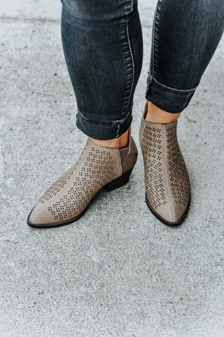 Claire Taupe Laser Cut Short Booties