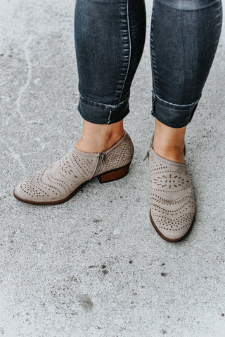 Alice Taupe Open Side Laser Cut Short Booties