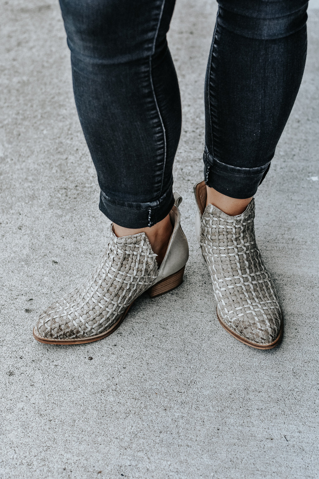 Rowan Taupe Woven Leather Booties