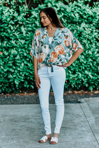 Madelyn Button Up Tie Floral Top