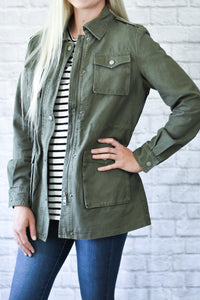 Jordan Green Canvas Military Jacket