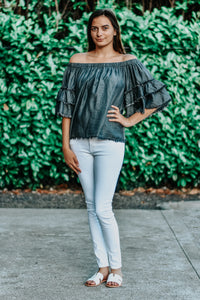Caroline Charcoal Denim Off Shoulder Top