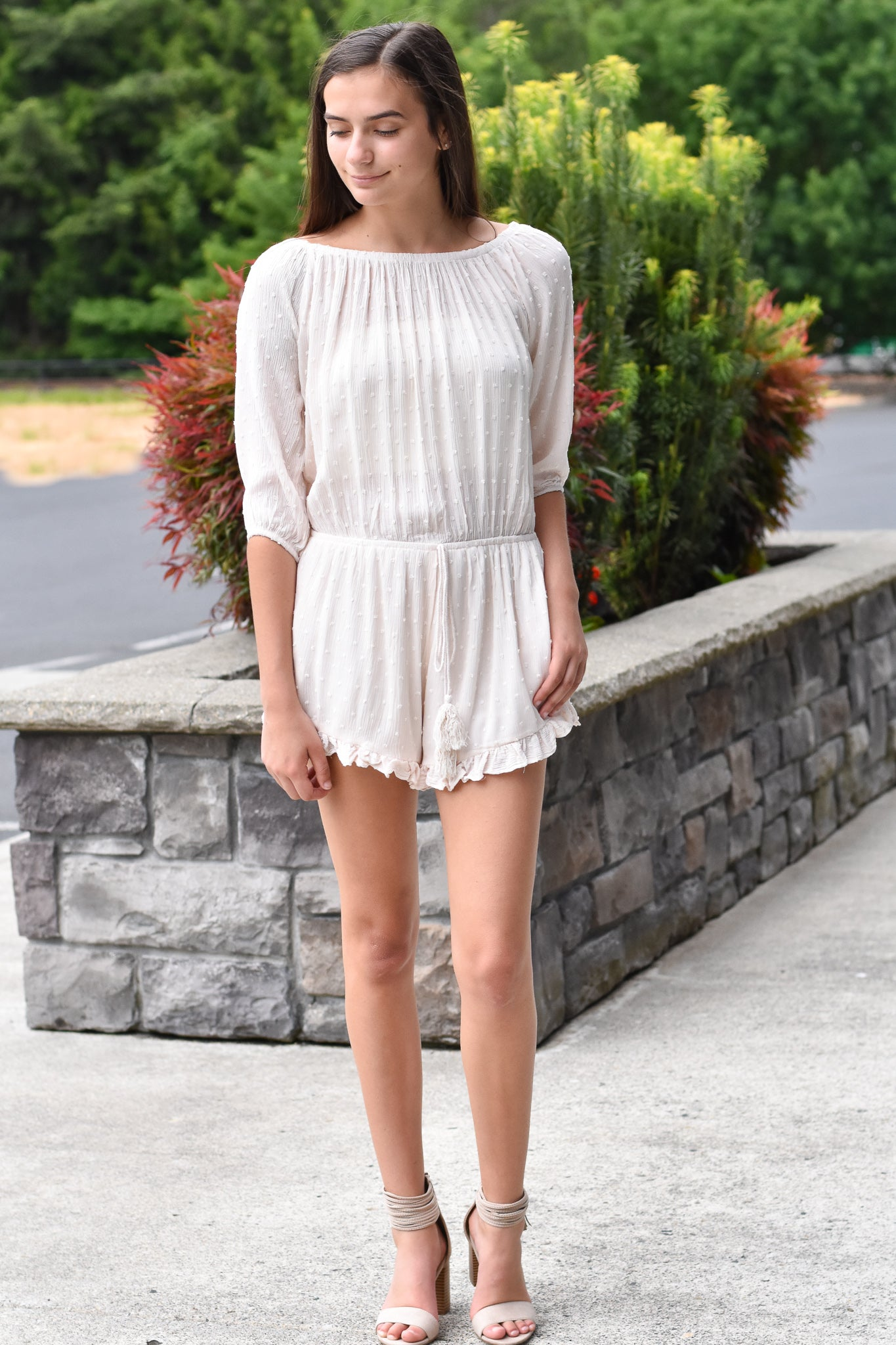 Anna Blush Off Shoulder Romper