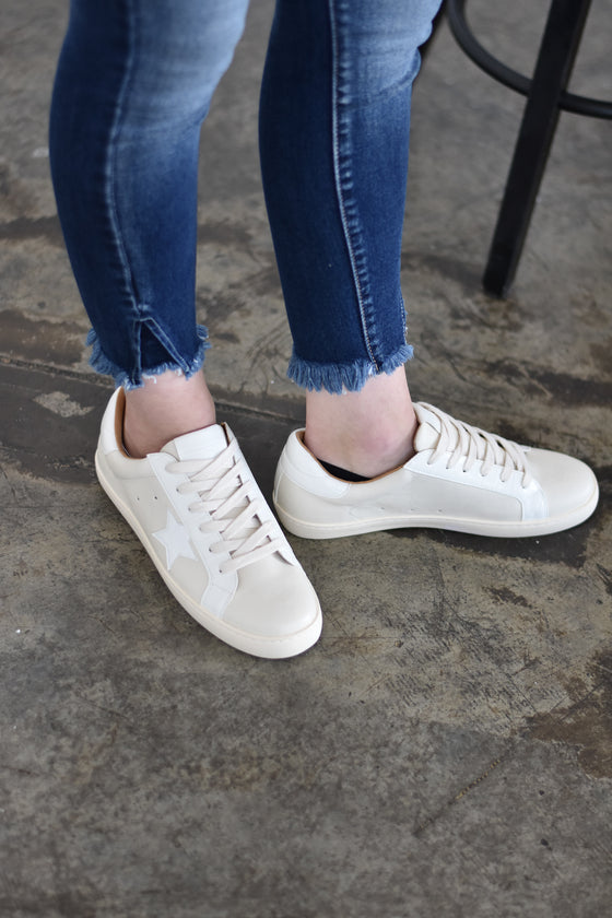 Danielle White Star Sneakers