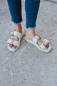Kailey Acid Wash Cowhide Double Strap Sandals