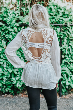 Noelle White Open Back Crochet Blouse