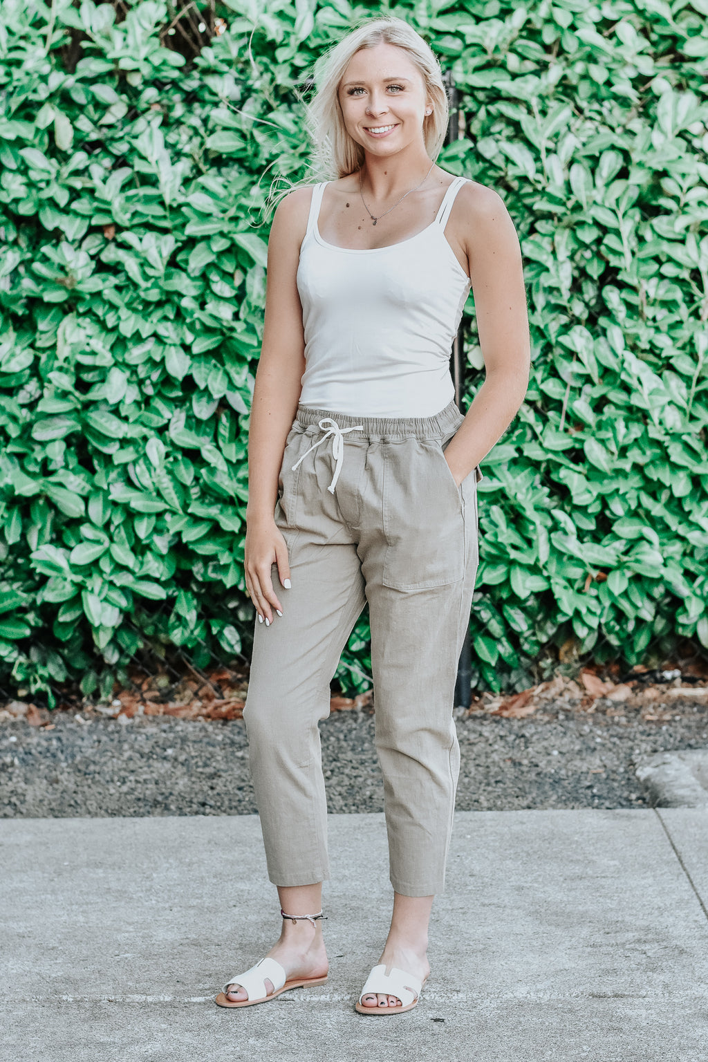 Hadley Sage Green Canvas Ankle Pants