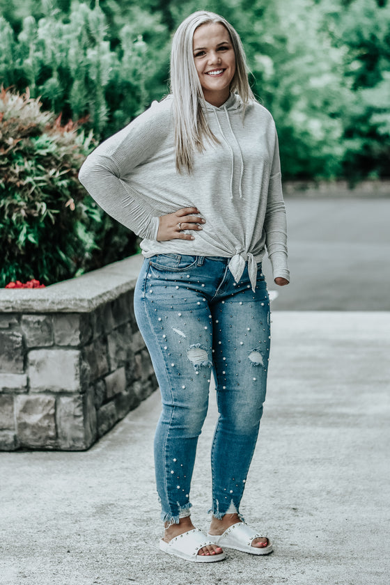 Pearline Distressed Pearl Jeans