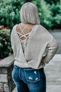Makayla Loose Knit Lace Back Sweater in Sand