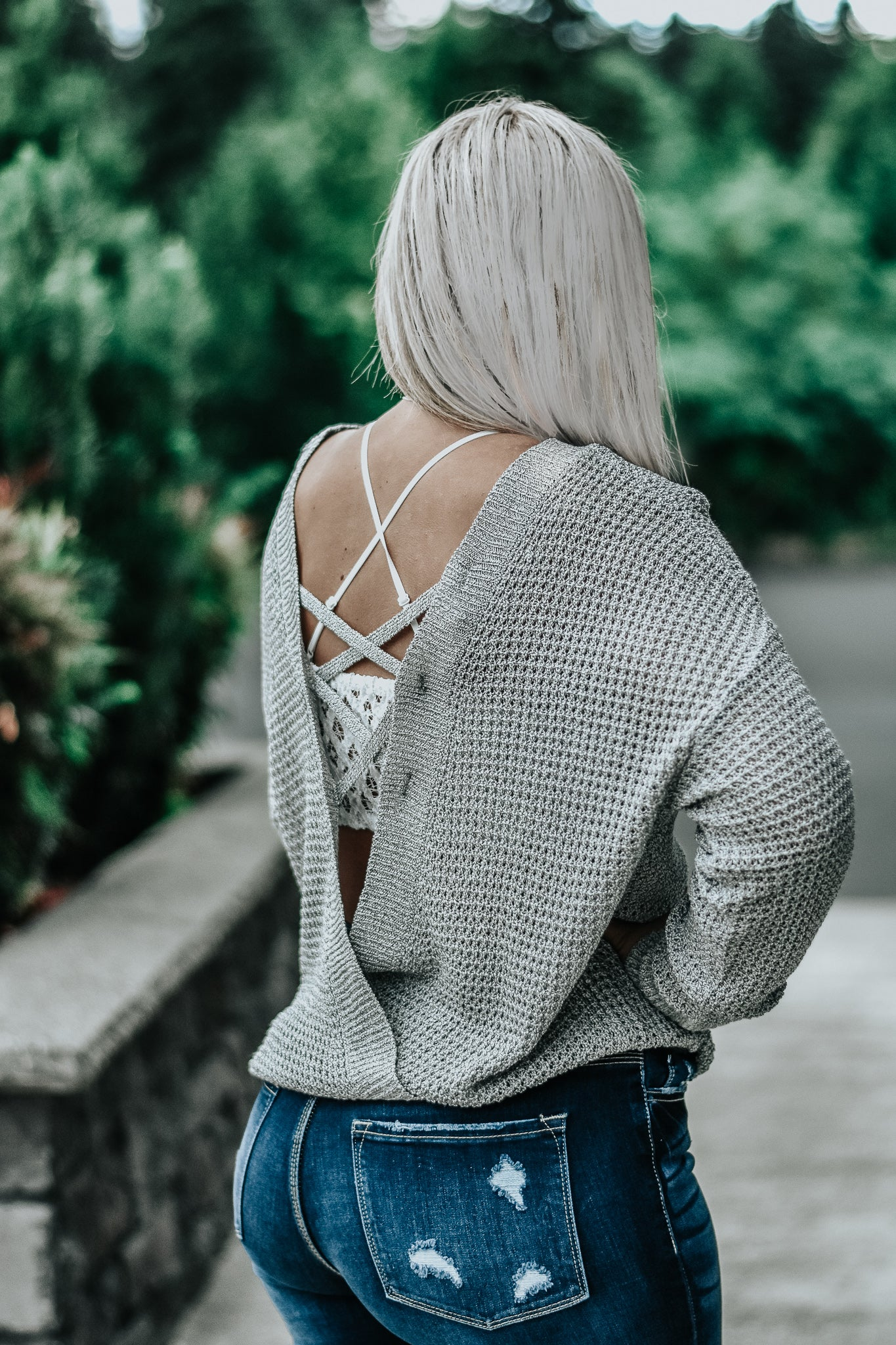 Makayla Loose Knit Lace Back Sweater in Grey