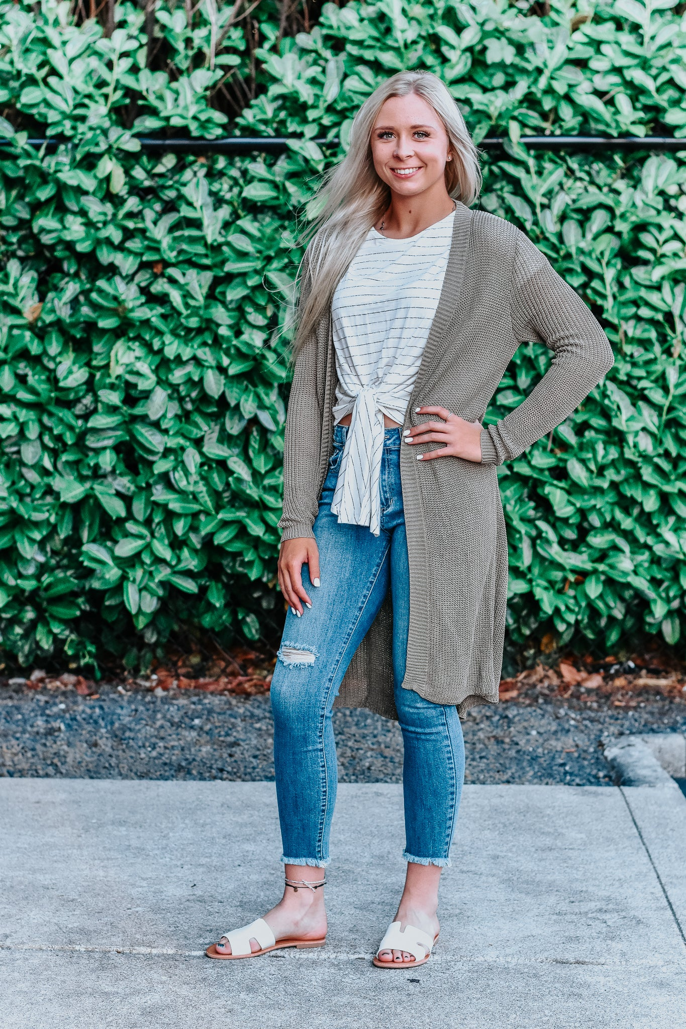 Kaitlyn Olive Long Loose Knit Cardigan