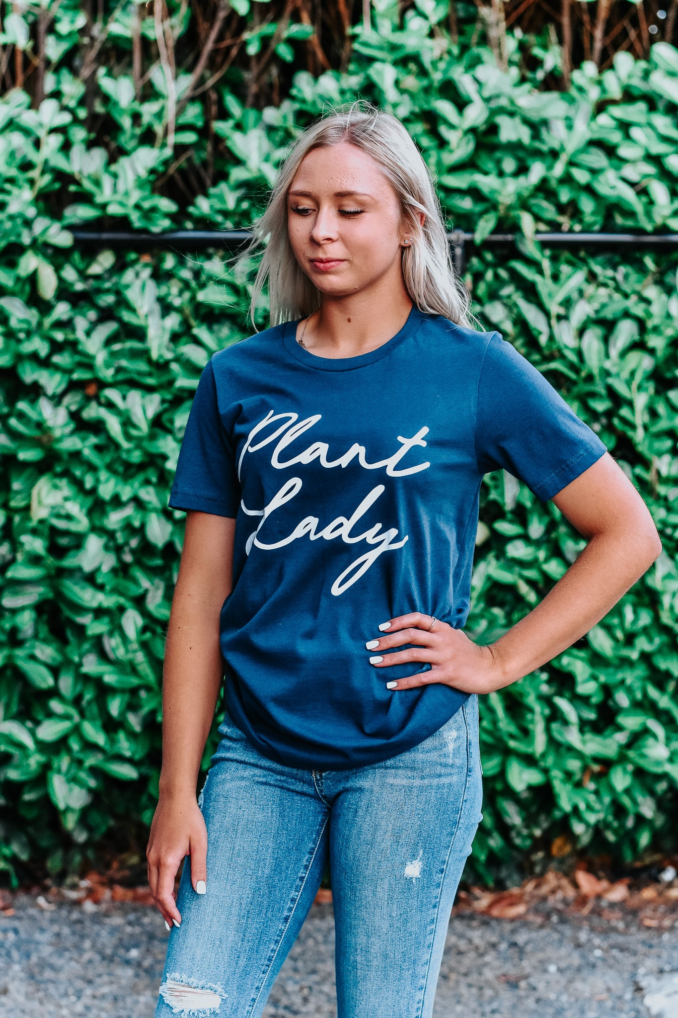 Plant Lady Navy Graphic Tee