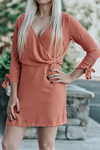 Amelia Coral Three Quarter Sleeve Dress