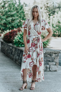 Isabella Cream Floral High-Low Wrap Maxi Dress