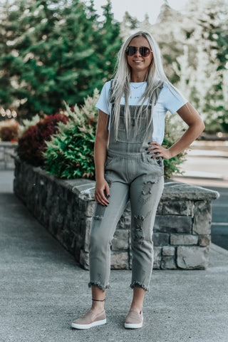 Harper Grey Distressed Denim Overalls
