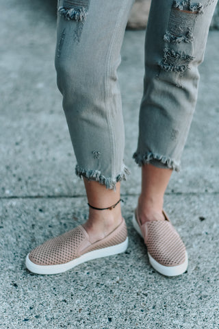 Lillian Blush Cut-out Slide On Sneakers