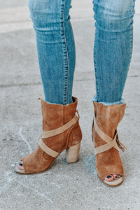 Everly Tall Suede Open Toe Booties