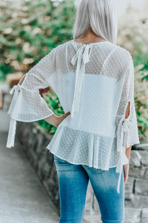 Lilly White Dot Bell Sleeve Blouse