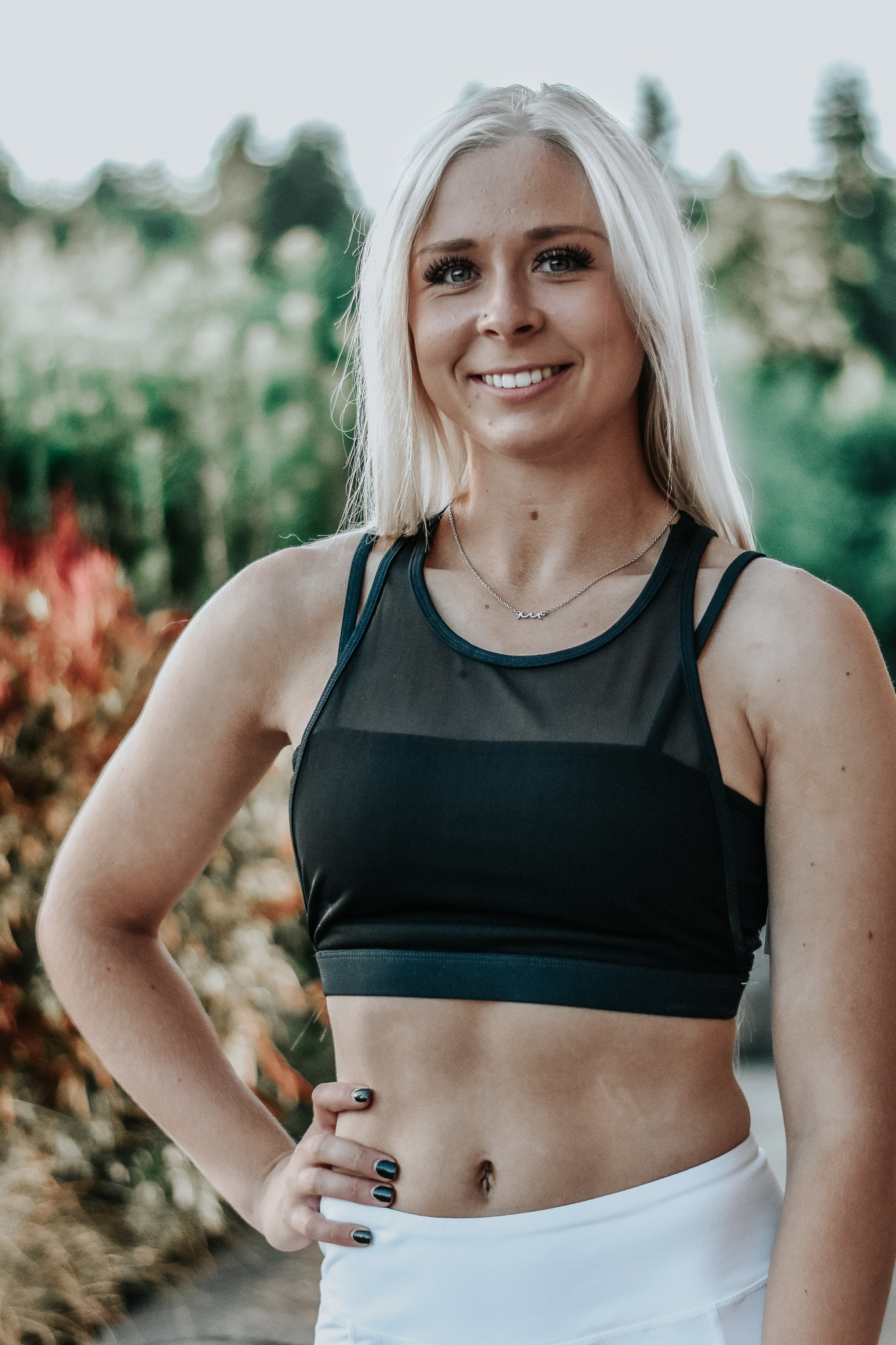 Leah Black Mesh Sports Bra