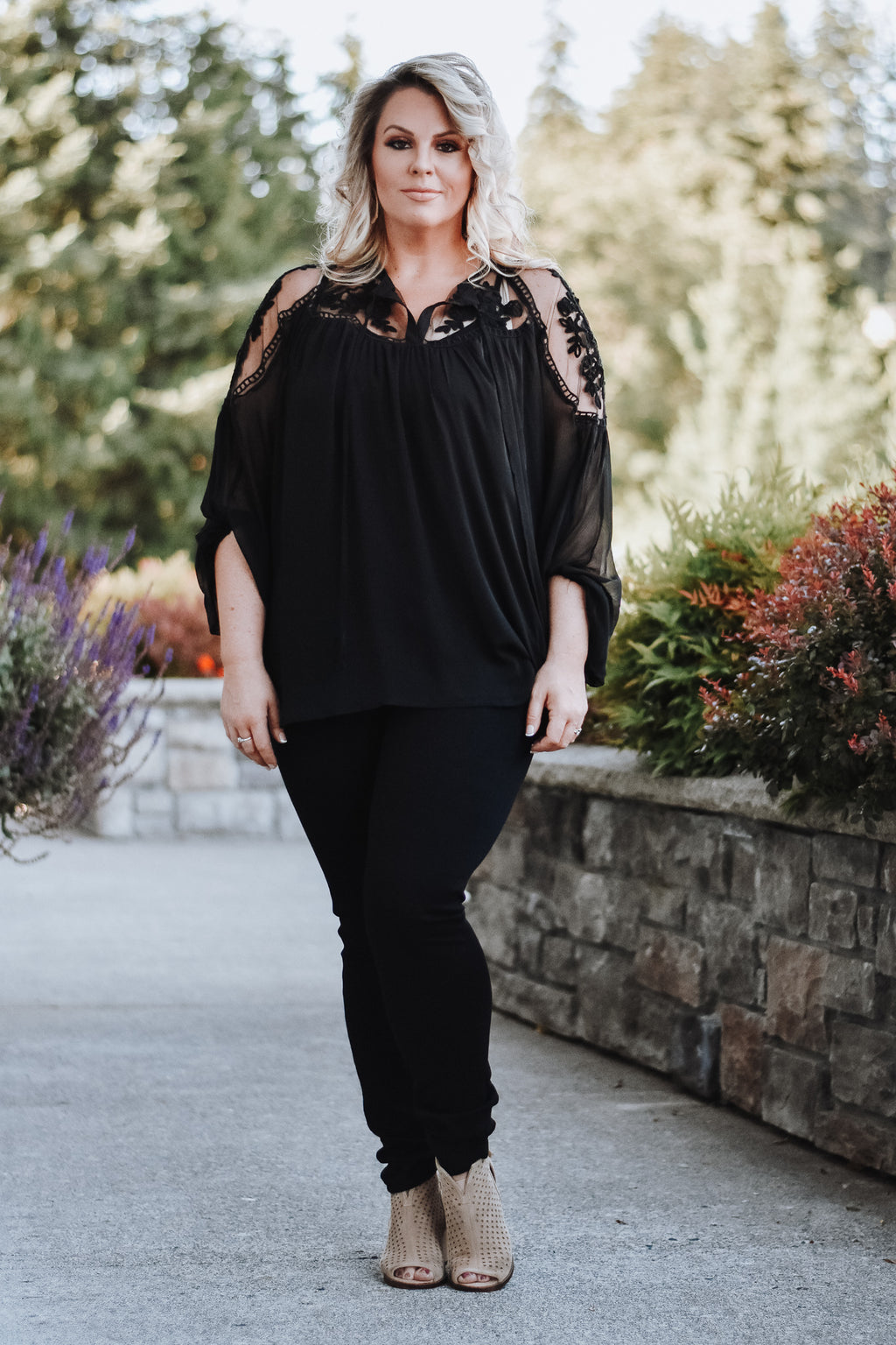 Adeline Crochet Detail Blouse in Black