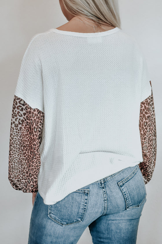 Juliana White Thermal Top with Leopard Sleeves