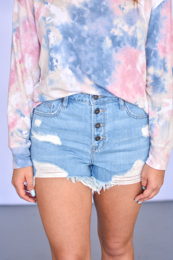 Jaylah High Rise Denim Shorts