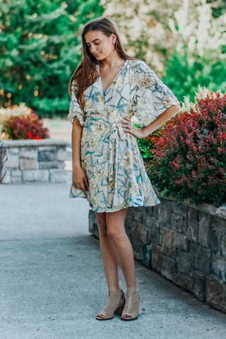 Annie Yellow Floral Crushed Velvet Wrap Dress