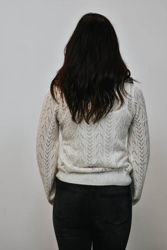 Nyla Open Knit Sweater in Ivory
