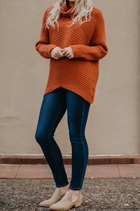 Daelyn Rust Turtle Neck Sweater