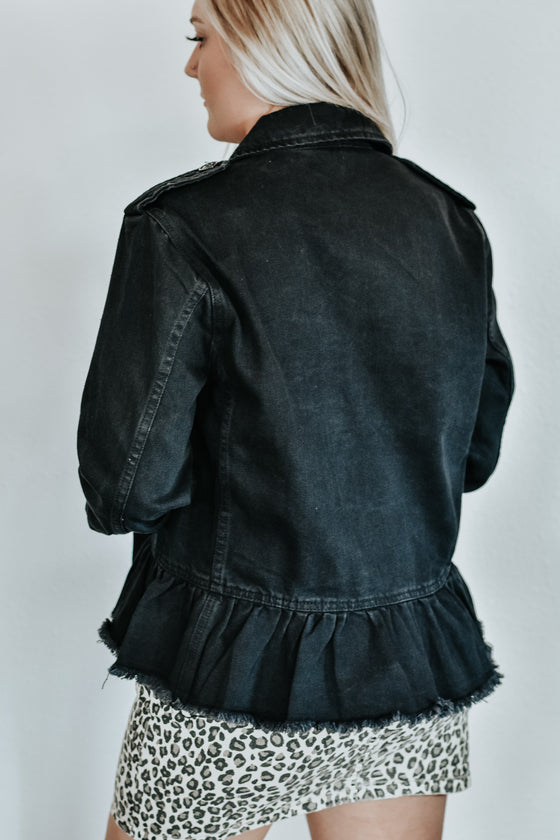 Daniela Black Ruffle Denim Jacket