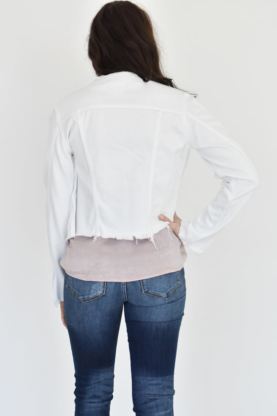 Danna Collarless White Fray Jacket
