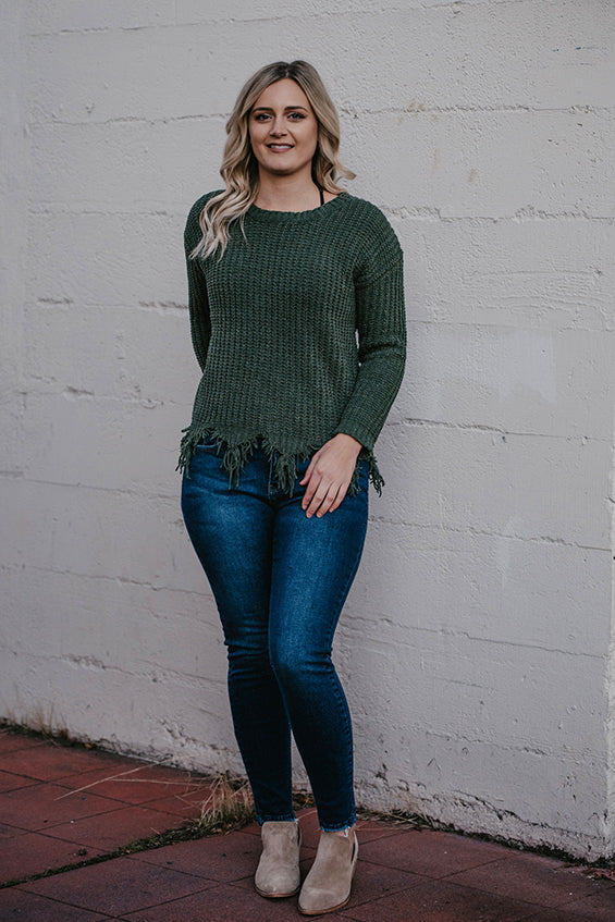 Darcy Olive Fray Hem Sweater