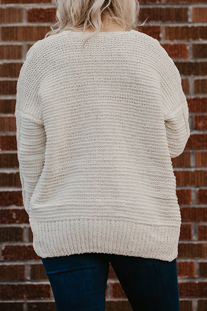 Donna White Chenille Cable Knit Cardigan