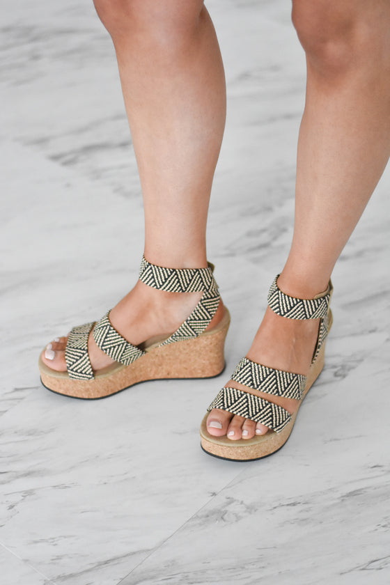 Allesia Elastic Cork Wedge Sandals