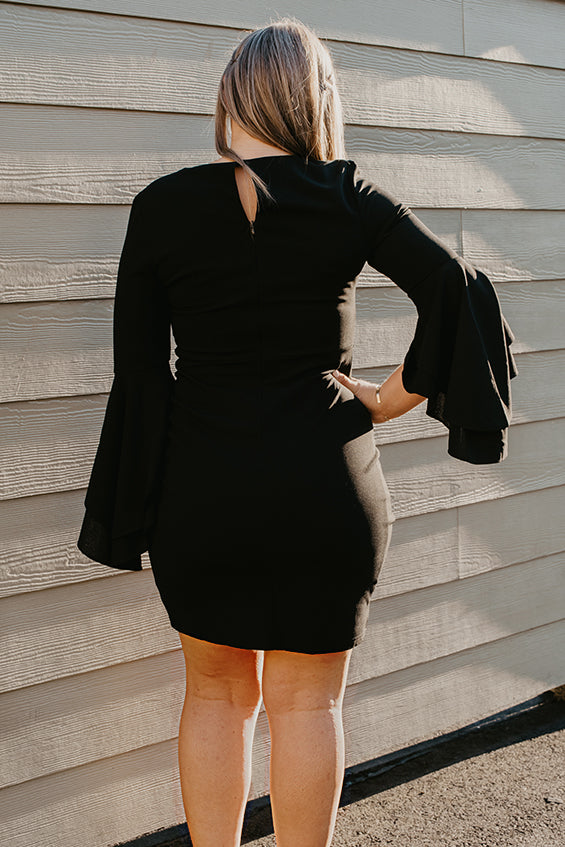 Eliza Bell Sleeve Black Dress