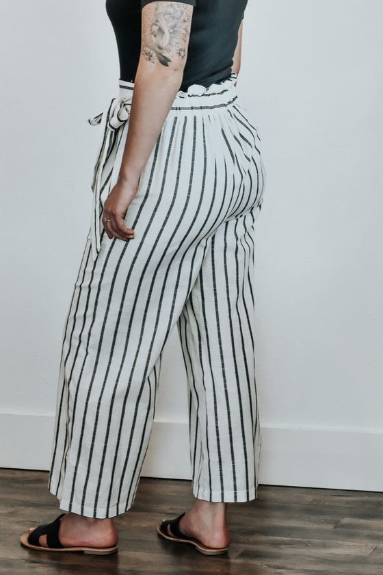 Eliza White Stripe Side Tie Pants
