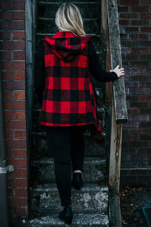 Elyse Red Buffalo Check Fringe Vest