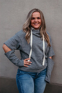 Emily Textured Hoodie with Split Elbow