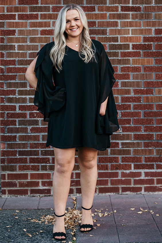 Emma Black Long Open Ruffle Sleeve Dress