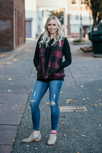 Erin Red & Black Flannel Plaid Sherpa Vest