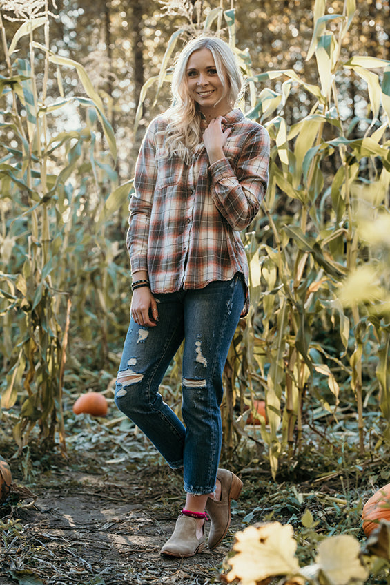 Esther Flannel Top in Orange