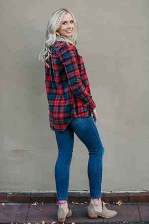 Esther Flannel Top in Red