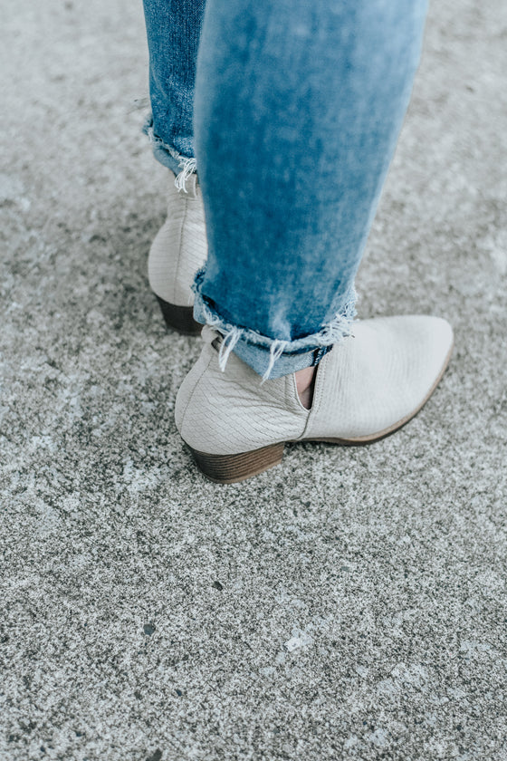 Esther Booties in Taupe Snake