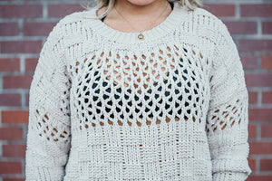 Eve Open Knit Cream Chenille Sweater
