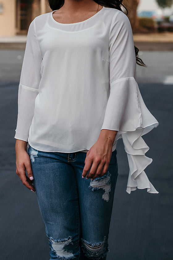 Faye White Long Bell Flutter Sleeve Blouse