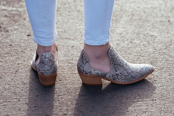 Finley Short Suede Booties in Snake