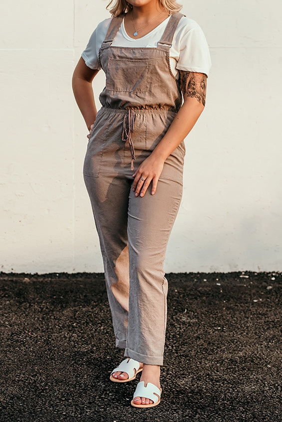 Finn Taupe Draw String Overalls